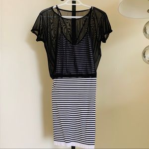 Sheer top casual dress. Black and white stripes
